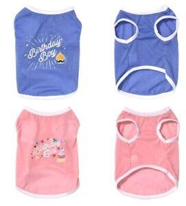 Small Dog Clothes Birthday Girl Birthday Boy Vest T shirt Pink Blue
