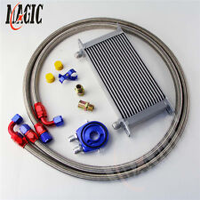 19 Row An-10An Universal Engine Transmission Oil Cooler Silver+ Filter Kit Blue