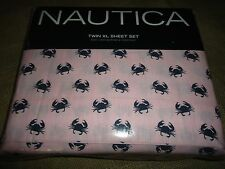 nautica crab pink 3pc twin xl sheet set blue 100 cotton blend tropical