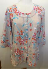 BLUE ILLUSION Beige Pink Blue Floral Print 3/4 Sleeve Linen Blend Blouse Top XS