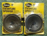 """Pair-2 NOS Vtg 1970's SPECO U208S 2-3/4"""" Square SPEAKERS Sealed Original Plastic"""