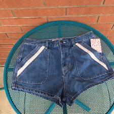 Free People Women's Sweet Surrender Light Denim Jean Shorts Size W 30 High Waist