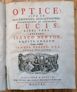 Isaac Newton - Optik Optice 12 Kupferstich Tafeln - 1740