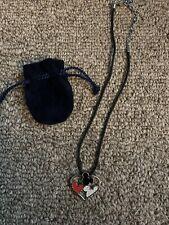 NWOT SWAROVSKI signed Disney Mickey Mouse heart crystal silver pendant necklace