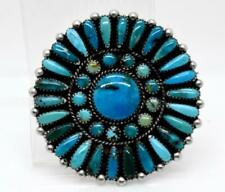 Zuni Native American Turquoise Petit Point Round Sterling Silver Brooch Pendant