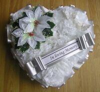 ARTIFICIAL CHRISTMAS WREATH FLOWERS HEART MEMORIAL GRAVE WHITE SILVER POINSETTIA
