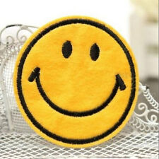 Happy Smile Face Yellow Iron On Applique Embroidered Patch DIY Sewing
