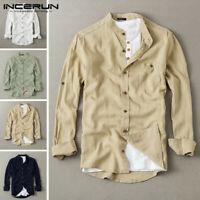 Mens Linen Long Sleeve Shirt Collarless Causal Holiday Blouse Work Cotton Tops