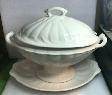 Wm ADAMS & SONS ENGLAND WHITE IRONSTONE Soup Tureen & Under Plate CERES Wheat
