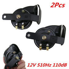 2x Black 12V 510Hz Car Truck 110DB Loud Snail Electric Air Horn Siren Universal