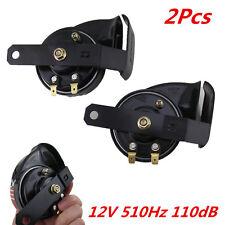 Black Metal Horn 2× Car Loud 510Hz 110dB Compact Snail Air Horn Waterproof 12V