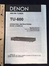 Denon TU-600 Tuner Original Owners Manual tu600 A16