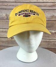 Pompano Beach Golf Course Baseball Cap Head Vintage Mustard Yellow Strap  Back 159d473c3417