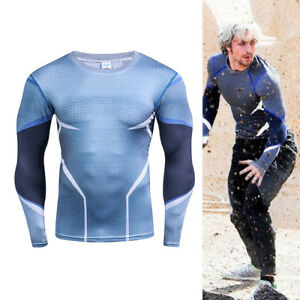 Avengers Age of Ultron Quicksilver Men Long Sleeves T-shirt Fitting Sport party