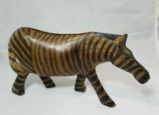 vintage Hand Carved Wooden Zebra 4 in.x 8 in.