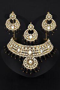 Indian Rajasthani Gold Plated Kundan Choker Necklace Jewelry Bridal Set