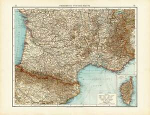 Antique Map-SOUTHERN FRANCE-FRANKREICH-CORSICA-Andree-1904