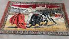 """Vintage Velvet Large Tapestry - Rug Matador Bull Fighting 81"""" X 48"""" Coliseum"""