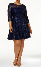 SL Fashions New Plus Size Sequined Lace Fit & Flare Dress Size 18W #JN 513