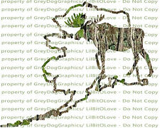 Camouflage Camo Alaska Moose Hunting Vinyl Decal Hunt Sticker Bull