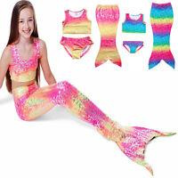 Enfants Fille Queue De Sirène S'y Baigner Colorant bikini maillot bain cosplay