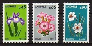A7614) Andorre 1974 Scott# 223-25-27 MNH Flowers 3v