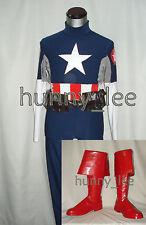 Captain America Cosplay Costume+Boots+Hood Custom-Made