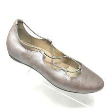 Earthies ESSEN Silver Leather Ballet Flat  Slip On Comfort Shoe Womens SIZE 8 B