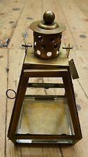 Antiqued brass clear glass lantern Tea Light Votive Candle Holder 15 x 15 x 25cm
