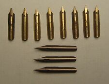 VINTAGE PEN NIBS 8 Mitchell's Italic & 3 Hughes Million Pen Inc Unstamped Error