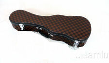 Concert ukulele hard case, Brown color, square patterns, free shipping!