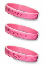 Pink Ribbon Silicone Bracelets - Adult - 3 Pack - Breast Cancer Awareness