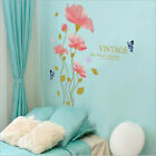 Removable Happiness Pink Flower Wall Sticker Art Mural Wall Decal Home Decor Diy