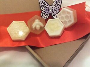 4 hexagonal and bee 🐝 soaps with Goats Milk/Argan oil base, Peppermint EO