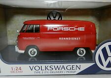 1:24 MOTOR MAX *PORSCHE RACING* Red VW VOLKSWAGEN Type 2 T1 Delivery Van *NIB*