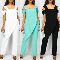 Women Cold Shoulder Playsuit Ruffle Trousers Casual Romper Jumpsuit Plus Size US