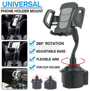 Car Mount Adjustable 360° Gooseneck Cup Holder Cradle For Cell Phone