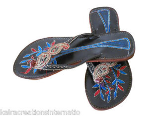Women Slippers Traditional Handmade Indian Multi-Color Leather Slipper US 6