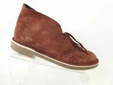 Clarks Size 10.5 M Maroon Suede Leather Lace Up Ankle Chukka Boots Mens Shoes