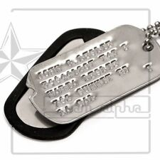 Military Custom Personalized Notched Dog/Toe Tags WWII Debossed Chain+Silencers