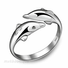 Small and Durable Plated silver Double Dolphin Adjustable Rings QUE