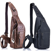 Mens Genuine Leather Large Shoulder Sling Bag Sports Pouch Crossbody Chest Pack