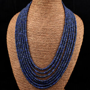 Faceted 645.00 Cts Earth Mined 7 Line Blue Sapphire Beads Necklace JK 04E184