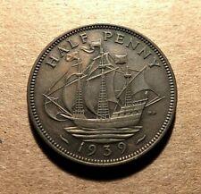 Uk - Great Britain 1939 Half Penny- George Vi - Nice Details! Km#844 Tkg
