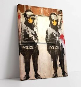 BANKSY SMILEY POLICE CANVAS WALL ART FLOAT EFFECT/FRAME/PICTURE/POSTER PRINT