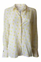 CHLOE 100% Silk Yellow Print Repeat Long Sleeve Shirt (48)
