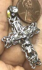 "GOLD white 14k cross jesus pendant simulated diamond baugette round 6.3g 1.75"""