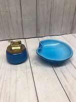 Vintage Mid Century Murano ITALIAN Art Glass Lighter Ashtray Set BLUE BRASS