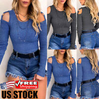 Women Long Sleeve Knitted Pullover Jumper Sweater Cold Shoulder Knitwear Tops US