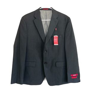 Alfani Men's Red Slim-Fit Performance Stretch Stripe Suit Separate Black 42S